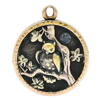 Shakudo 14 Karat Gold Mixed Metal Rooster Owl Pendant Charm Circa 1900