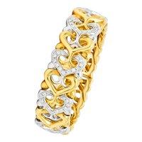 Bulgari 1.50 CTW Diamond 18 Karat Two-Tone Gold Heart Cuff Bracelet