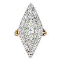 Edwardian 1.60 CTW Diamond Platinum-Topped 14 Karat Gold Navette Dinner Ring