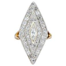 Edwardian 1.60 CTW Diamond Platinum-Topped 14 Karat Gold Navette Dinner Ring
