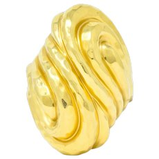 Henry Dunay Vintage 18 Karat Yellow Gold Hammered Swirl Ring Circa 1980's