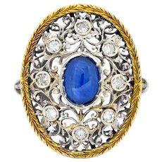 Buccellati 1.71 CTW Sapphire Diamond 18 Karat Two-Tone Gold Dinner Ring