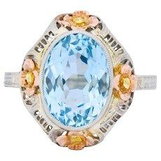 Arts & Crafts 3.10 CTW Aquamarine 14 Karat Tri-Colored Gold Floral Ring Circa 1900