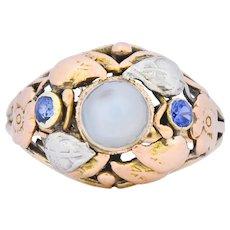 1900's Arts & Crafts Moonstone Sapphire 14 Karat Gold Floral Ring