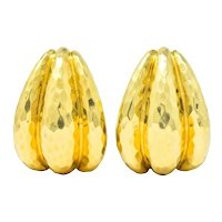 Henry Dunay Vintage 18 Karat Yellow Gold Hammered Statement Earrings Circa 1980