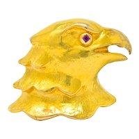 Cartier Large Retro Ruby 18 Karat Gold Eagle Bust Unisex Brooch Circa 1950