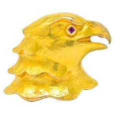 Cartier Large Retro Ruby 18 Karat Gold Eagle Bust Unisex Brooch Circa 1950