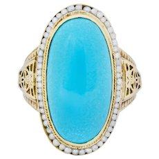 Art Deco Turquoise Seed Pearl 14 Karat Gold Fashion Ring