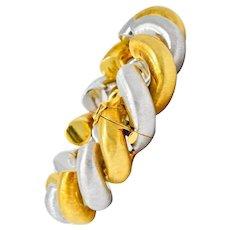 Buccellati Vintage 18 Karat Two-Tone Gold Italian Link Bracelet Circa 1980