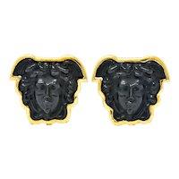 Elizabeth Locke Onyx 18 Karat Gold Medusa Earrings