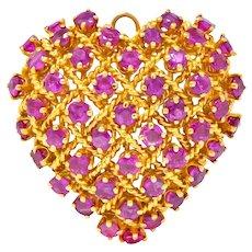 Tiffany & Co. 8.00 CTW Ruby 18 Karat Gold Heart Pendant Brooch