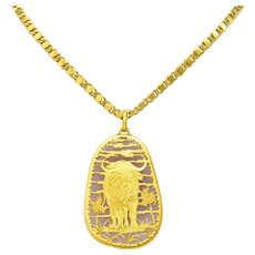 Buccellati 1980 Rose Quartz 18 Karat Gold Water Buffalo Pendant Necklace
