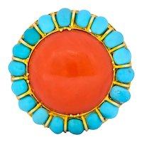 Vintage Coral Turquoise 14 Karat Gold Cluster Ring Circa 1960