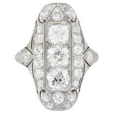 1915 Edwardian 2.40 CTW Old European Diamond Platinum Dinner Ring