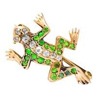 Edwardian Diamond Demantoid Garnet 14 Karat Gold Frog Brooch Circa 1900