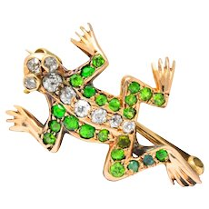 Edwardian Diamond Demantoid Garnet 14 Karat Gold Frog Brooch Circa 1900