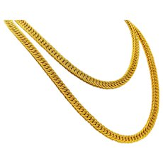 Contemporary 18 Karat Yellow Gold Long 36 Inch Woven Chain Necklace