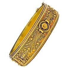 Victorian Etruscan Revival 14 Karat Gold Floral Bangle Bracelet Circa 1870