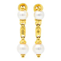 Bulgari Vintage Cultured Pearl 18 Karat Gold Drop Earrings Circa 1980