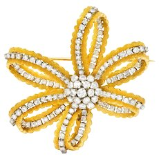 Zolotas 3.50 CTW Diamond Platinum 18 Karat Gold Festive Bow Brooch