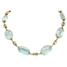 1870 Victorian Aquamarine Rock Crystal 14 Karat Gold Beaded Necklace