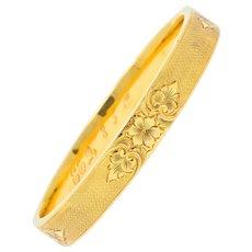 Charming Victorian 14 Karat Gold Floral Bangle Bracelet Circa 1900