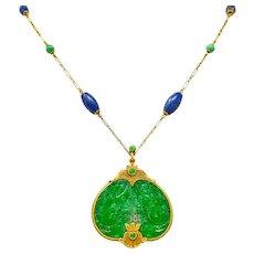 Substantial Arts & Crafts Jade Lapis 14 Karat Gold Medallion Necklace