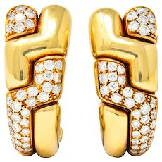 Bulgari 2.22 CTW Diamond 18 Karat Gold J Hoop Earrings Circa 1980