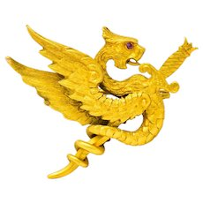 Riker Brothers Art Nouveau 14 Karat Gold Slayed Dragon Brooch Circa 1900
