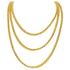 Substantial Victorian 14 Karat Gold 62 Inch Long Chain Necklace Circa 1880
