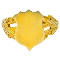 Art Nouveau 12 Karat Yellow Gold Shield Signet Unisex Ring