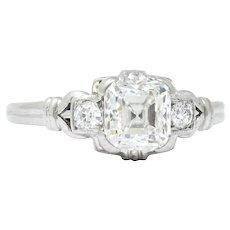 1940 Retro 1.35 CTW Asscher Diamond Platinum Engagement Ring