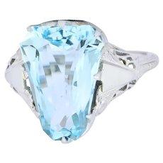 Edwardian 4.90 CTW Aquamarine 18 Karat White Gold Dinner Ring