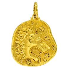 Cartier 18 Karat Yellow Gold Leo Lion Zodiac Large Medallion Pendant Circa 1970's