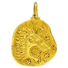 Cartier 18 Karat Yellow Gold Leo Lion Zodiac Large Medallion Pendant Circa 1970's