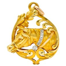 Art Nouveau Diamond 18 Karat Yellow Gold Horse Equestrian Pendant