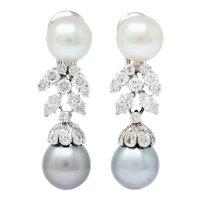David Webb 2.40 CTW Diamond Cultured Pearl Drop Ear-Clip Earrings