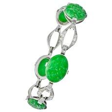 William Wise & Son Jade Diamond Platinum Link Bracelet Circa 1920's