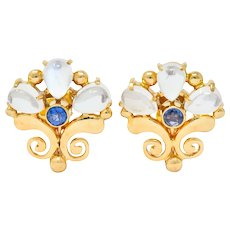 Tiffany & Co. Retro Moonstone Sapphire 14 Karat Gold Screw Back Earrings