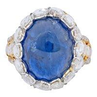 Contemporary 17.00 CTW Sapphire Diamond 18 Karat Gold Cluster Cocktail Ring
