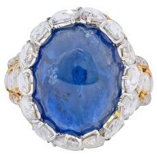 Contemporary 17.00 CTW Sapphire Diamond 18 Karat Gold Cluster Cocktail Ring
