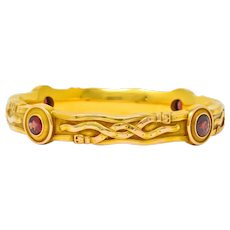 Riker Brothers Art Nouveau Garnet 14 Karat Gold Belt Bangle Bracelet
