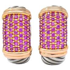 David Yurman 2.00 CTW Pink Sapphire Sterling Silver 18 Karat Rose Gold Metro Hoop Earrings