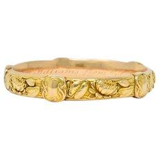 Riker Brothers Art Nouveau 14 Karat Gold Lotus Lily Pad Bangle Bracelet