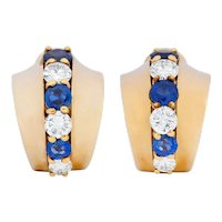 Cartier Diamond Sapphire 14 Karat Gold Huggie Ear-Clip Earrings
