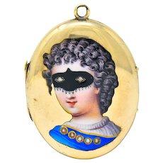 Early Victorian Enamel Rose Cut Diamond 14 Karat Gold Masquerade Mourning Locket Pendant