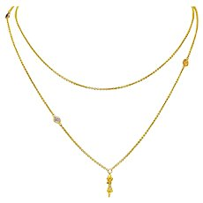 1890 Victorian Diamond Multi-Gem 14 Karat Gold By The Yard Station Necklace