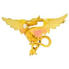 Krementz Art Nouveau 14 Karat Gold Enamel Dragon Watch Pin Brooch