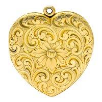 Carrington Co. Art Nouveau 14 Karat Gold Locket Floral Locket Pendant Circa 1900