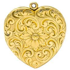 Carrington Co. Art Nouveau 14 Karat Gold Locket Floral Locket Pendant Circa 1900